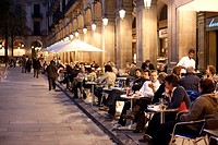 People having a drink in Plaza Real, Barcelona