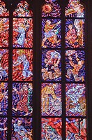 stained glass windows inside of St Vitus Cathedral at Prague Castle, Prague, Czech Republic