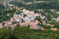 View of Sintra National Palace, Palacio Nacional de Sintra, Town Palace, Palacio da Vila from Moorish Castle, Castle of the Moors, Castelo dos Mouros,...