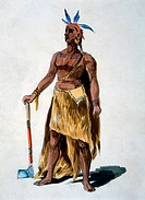Native American, Watercolor Painting William L. Wells for the Columbian Exposition Pageant, Circa 1892