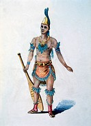 Aztec Rower, Watercolor Painting by William L. Wells fo the Columbian Exposition Pageant, 1892