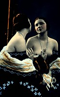 Nude Woman Looking in Mirror, Hand Colored Photograph, Circa 1900