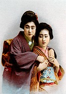 Two Japanese Women in Traditional Costume, Portrait, 1930, Hand Colored Photograph