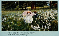 Couple Seated in Meadow of Wild Flowers, Postcard, 1909