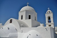 Dome of the Ágii Anárgiri church, Megalochóri, Santorini, Cyclades, Greek Islands, Greece, Europe