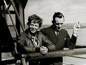 Amelia Earhart and Fred Noonan, Honolulu Airport, Hawaii, March 20, 1937