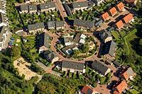 Aerial view, circular settlement in Johannestal, Bottrop, Ruhr area, North Rhine-Westphalia, Germany, Europe