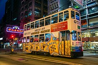 Night view of a double decker tram in Central Hong Kong, China