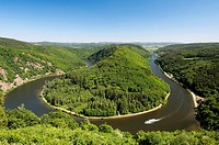 Excursion ship sailing on the Saarschleife, loop of the Saar river, near Mettlach, Saarland, Germany