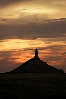 Sunset on Chimney Rock National Historic Site, Nebraska, the most famous site on the Oregon Trail for early settlers and pioneers