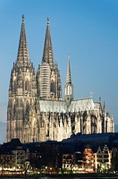 Evening view of Cologne Cathedral in Germany