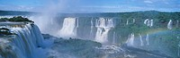 Panoramic view of Iguazu Waterfalls in Parque Nacional Iguazu, Salto Floriano, Brazil