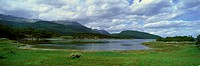 Panoramic view of Ushuaia, Tierra del Fuego National Park and Andes Mountains, Argentina