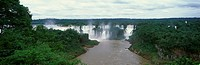 Panoramic view of Iguazu Waterfalls in Parque Nacional Iguazu, border of Brazil and Argentina