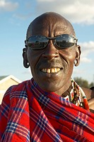 Masai Senior Elder with sun glasses in village of Nairobi National Park, Nairobi, Kenya, Africa
