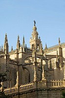 Giralda Bell_tower and Almohade section of historic Cathedral of Sevilla, Sevilla, Andalucia, Southern Spain
