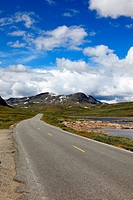 Norwegian road, situated deep in the mountains, Scandinavian Eur