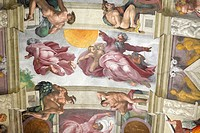 Creation of Sun and Moon at Sistine chapel by Michelangelo, Vatican, Rome, Italy