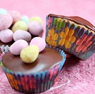 a fun image for Easter chocolate cup cakes and candy eggs