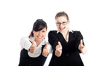Two young happy business women gesturing thumbs up, isolated on white background