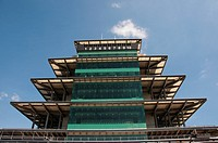 USA, Indiana, Indianapolis Motor Speedway, control tower pagoda during off season scene of the annual Indy 500 car race