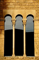 Window of the Royal Palace, Tinell Hall, Gothic XIV century, King Square, Barcelona, Catalonia, Spain.