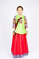 Girl in Korean traditional dress, Hanbok