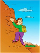 Boy Climbing a Mountain, vector illustration