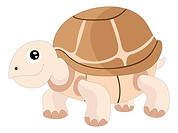 Cute turtle, brown, smiling, vector illustration