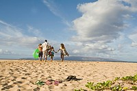 Family walking away on the beach