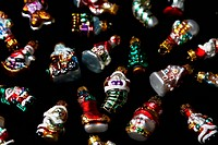 Christmas Ornaments on black backgrou