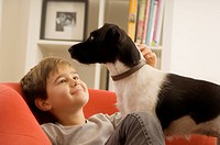 Boy sitting on chair, looking up at dog.
