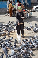 Afghan boy feeding pigeons at a mosque in kabul, Afghanistan