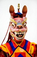 Bhutanese dancer in traditional costume