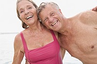 Spain, Senior couple on beach