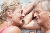 Spain, Mallorca, Happy senior couple at beach