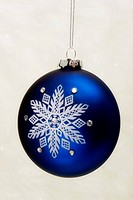 Blue and white ornament with snowflake