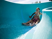 Girls on a waterslide