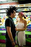 Punk couple at a fairground