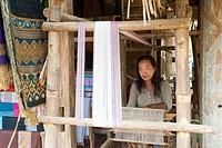 Textile weaving, Luang Prabang, Laos, Indochina, Southeast Asia, Asia