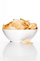 A bowl of potato chips / crisps