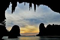 View from Pranang Cave, Pranang Cave Beach, Rai Leh Railay, Andaman Coast, Krabi Province, Thailand, Southeast Asia, Asia