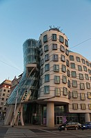 Rasinovo nabrezi riverside street with Tancic Dum the Dancing House 1996 by F Gehry new town Prague Czech Republic Europe