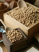 Soybeans in boxes, and Miso