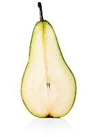 Half of a pear cut in half