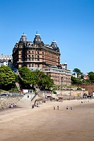 South Sands and Grand Hotel, Scarborough, North Yorkshire, Yorkshire, England, United Kingdom, Europe