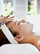Woman receiving facial at Visaya Spa, FCC Angkor.