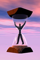 Low angle view of a man trapped in an hourglass