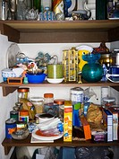 Close_up of goods on shelves in a pantry