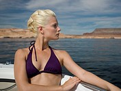 Close_up of a woman sitting in a boat